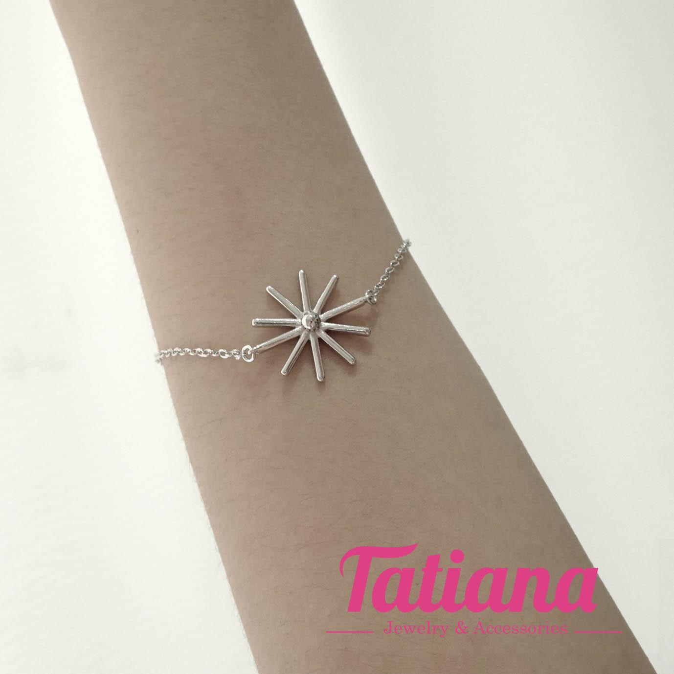 Hình ảnh Vòng Tay Nữ Mạ Bạc 925 Hạt Vuông Đính Đá - Tatiana - VB2256 (Bạc)