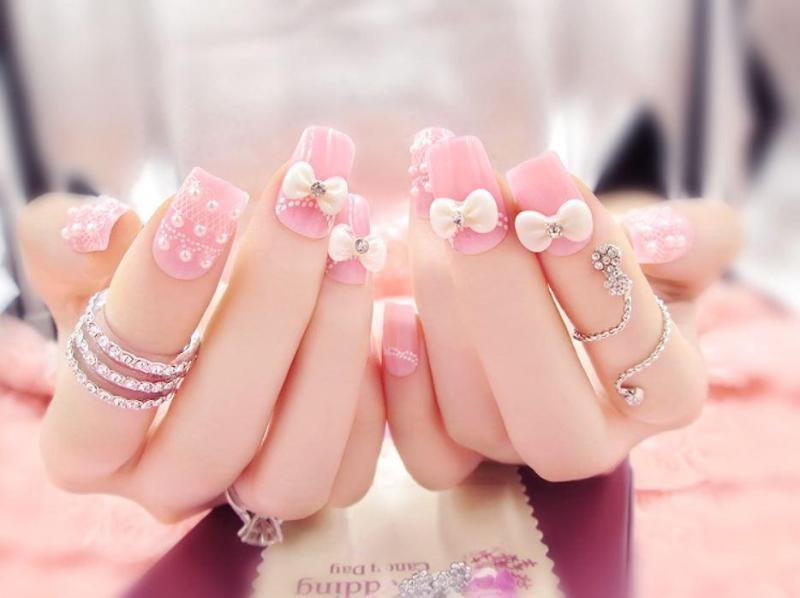 Bộ 24 móng tay giả đính nơ hồng (kèm keo+dũa)