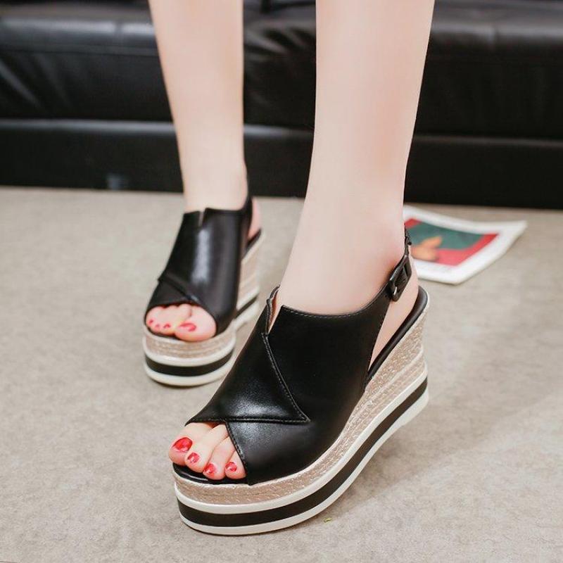 Giày đế xuồng nữ Hàn Quốc cao 10 phân S1075 (Đen) bền, đẹp, thời trang - SHOPMAIKA