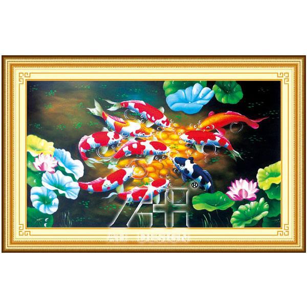 Tranh Thêu Chữ Thập 3d Cửu Ngư đồ - Cá Koi <53401 >chưa Thêu By Mariko.