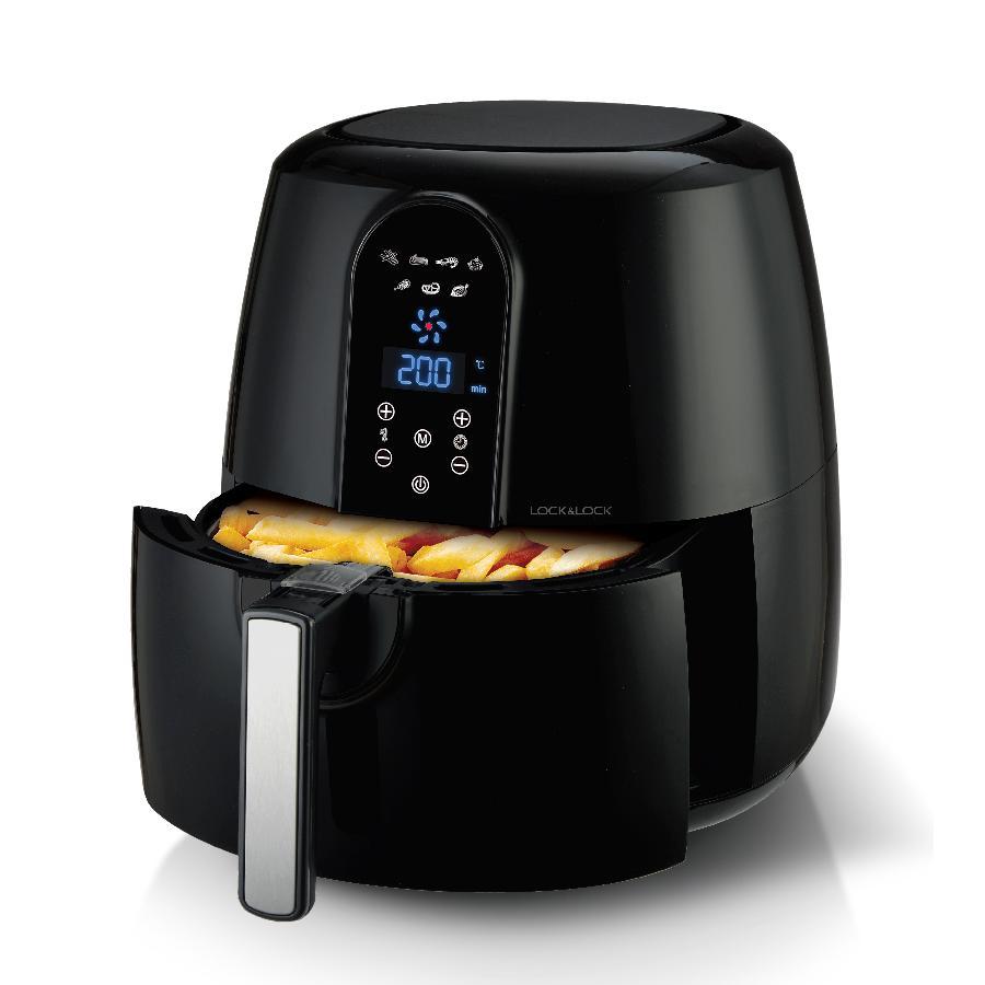 Hình ảnh [5.2L BIG SIZE] Nồi chiên không dầu Lock&Lock Jumbo Digital Eco Fryer_5.2L - Màu đen EJF351BLK