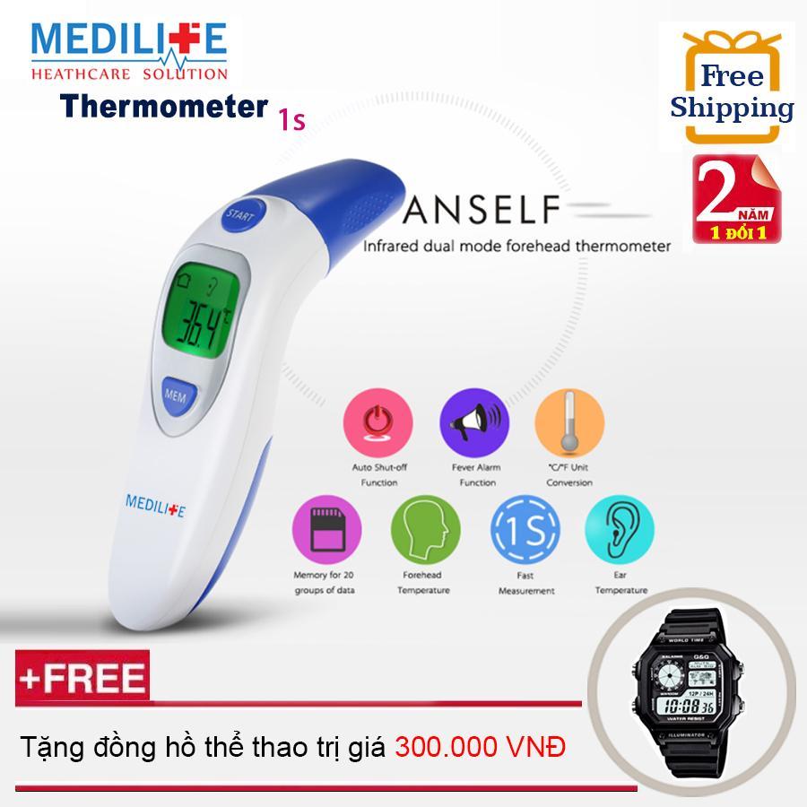Nhiệt kế điện tử hồng ngoại đo tai và trán Medilife IT - 121 + Tặng đồng hồ thể thao chính hãng(OEM) nhập khẩu