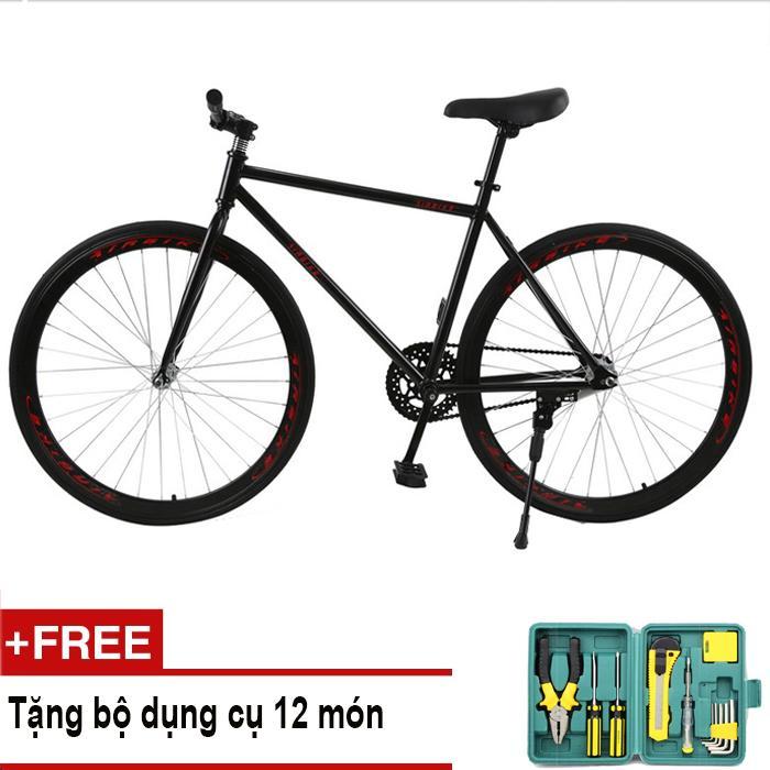 Xe đạp Fixed Gear Air Bike MK78 (đen) + Tặng bộ dụng cụ 12 món