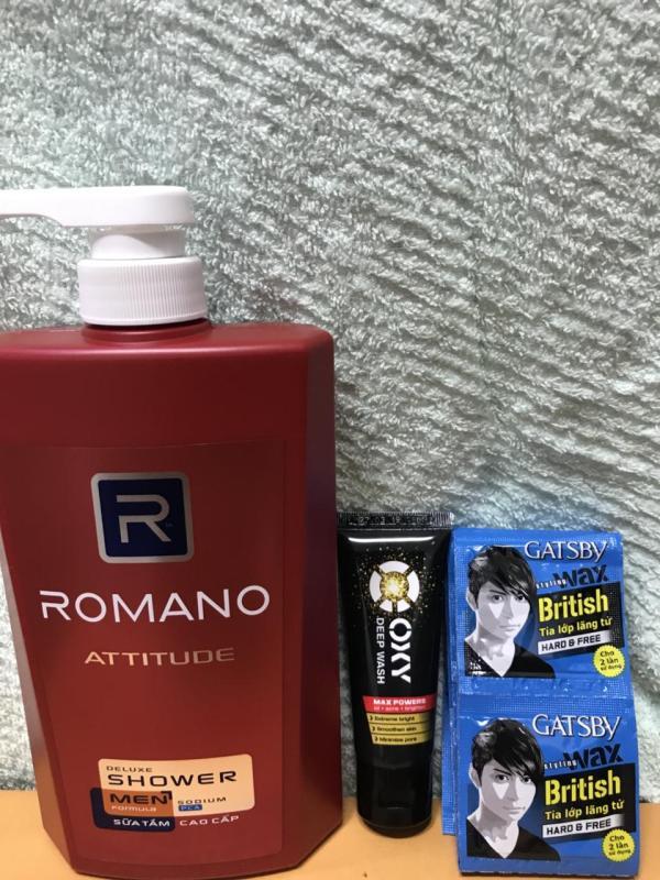 Sữa tắm Romano Attitude chai 650g tặng Srm 0xy 25g + 6 gói wax gatsby 6g/gói