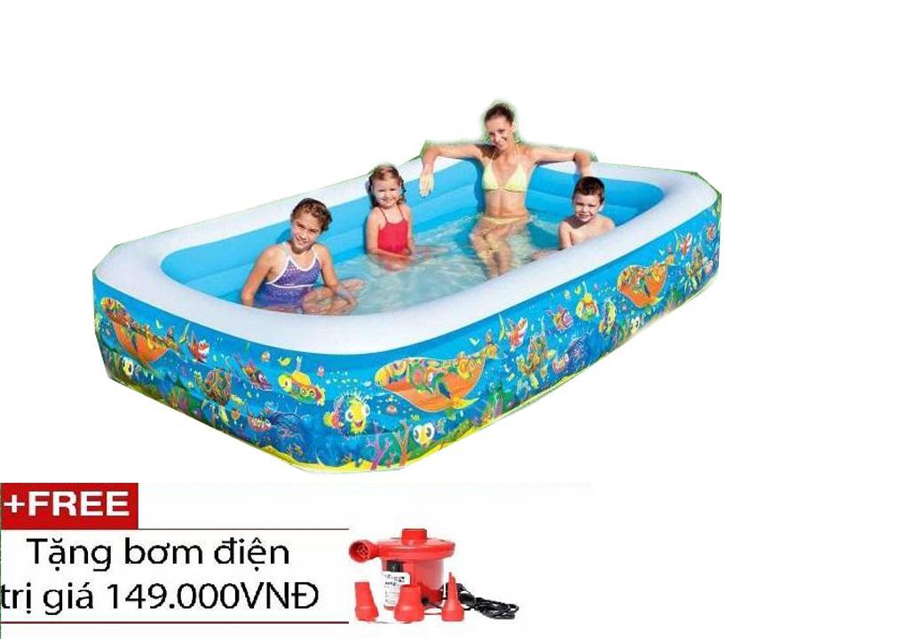 Hình ảnh Bể bơi gia đình vuông cá 305x183x56 intex 58485 tặng kèm bơm điện 2 chiều