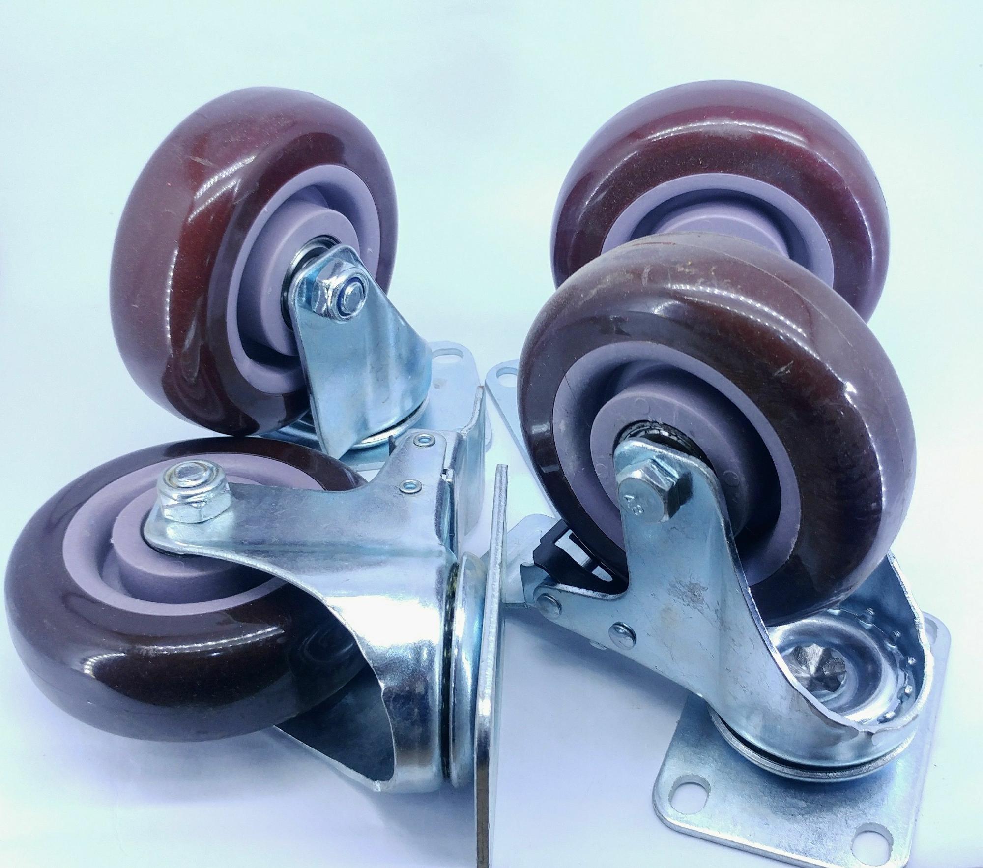 Bộ bốn bánh xe đóng xe đẩy, chân bàn, chân tủ đường kính bánh xe 7,5cm