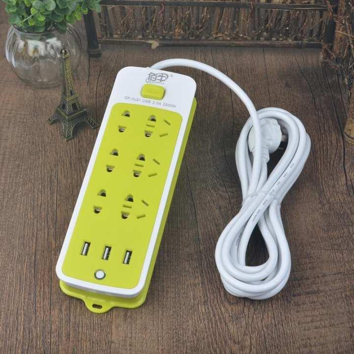Hình ảnh Ổ cắm điện kiêm sạc điện thoại (6 phích cắm, 3 cổng USB)