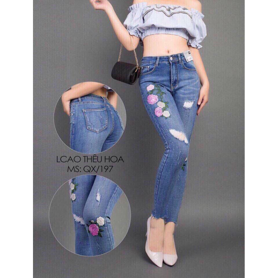 Quần Jeans Nữ Theu Hoa Cao Cấp Đẹp Store 257 Việt Nam