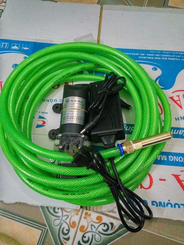 Hình ảnh máy rửa xe mini trọn bộ đủ phụ kiện bơm 80w adapter 220-12v 7m ống trõ lọc, 1 đầu xịt nước