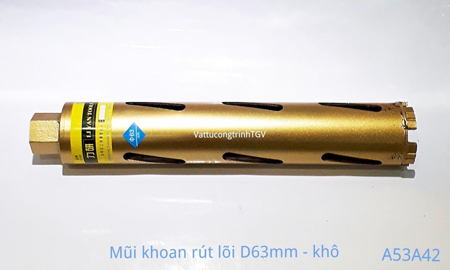 Mũi khoan rút lõi Vàng D63mm ( mũi khô)