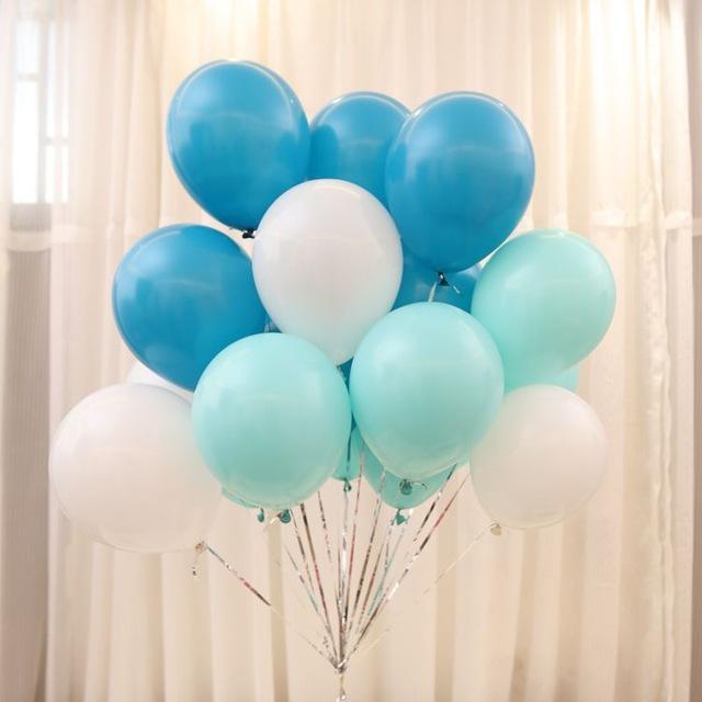 Hình ảnh 100 vỏ bóng bay màu trắng, xanh dương, tiffany