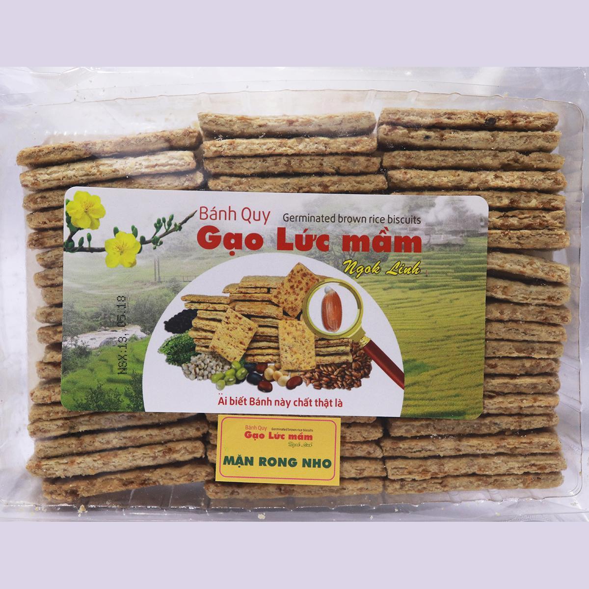 Hình ảnh Bánh Quy Gạo Lức Mầm Ngok Linh - Vị Mặn Rong Nho 300g