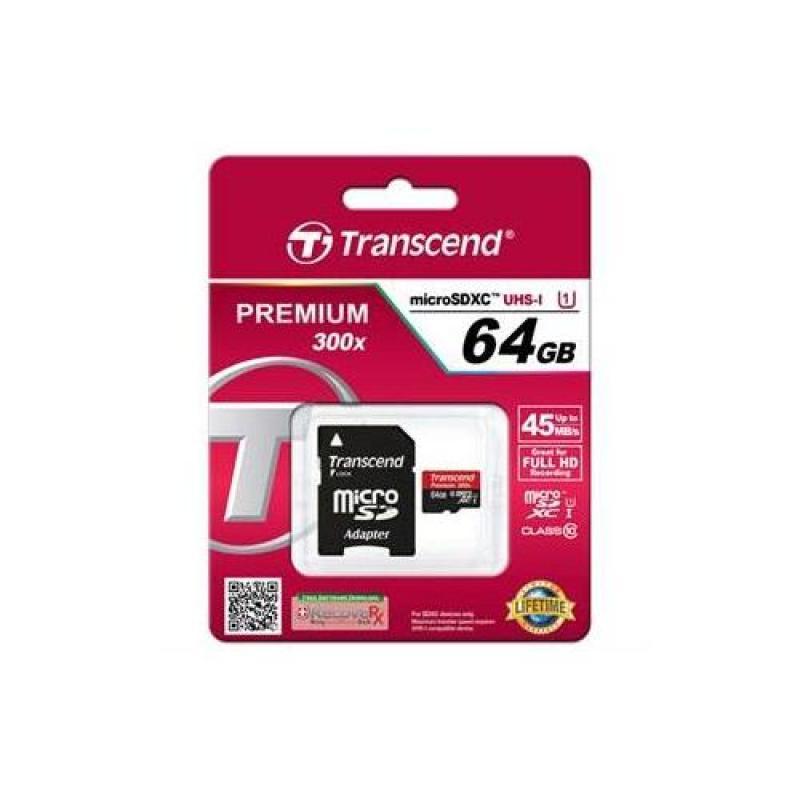 Thẻ nhớ Transcend 64GB MicroSDHC Class10 U1 có adapter_TS64GUSDU1