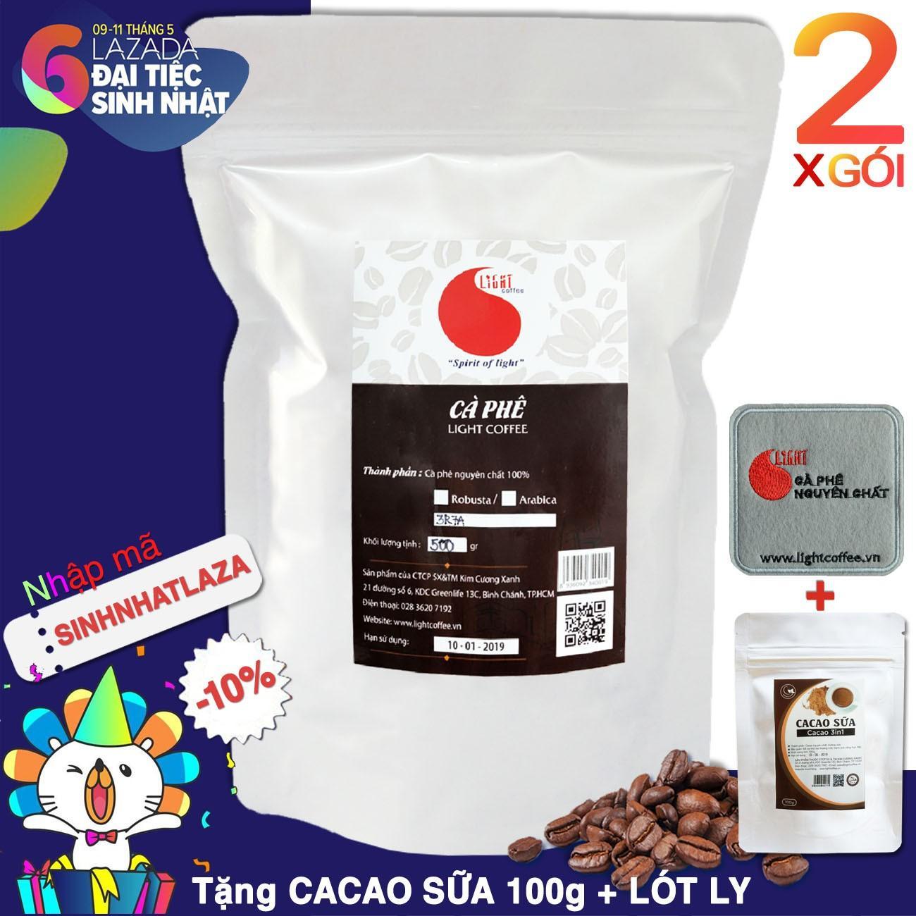 Ôn Tập 2 Goi 1Kg Ca Phe Nguyen Chất 100 Dạng Hạt Chua Thanh Dịu Dang Light Coffee