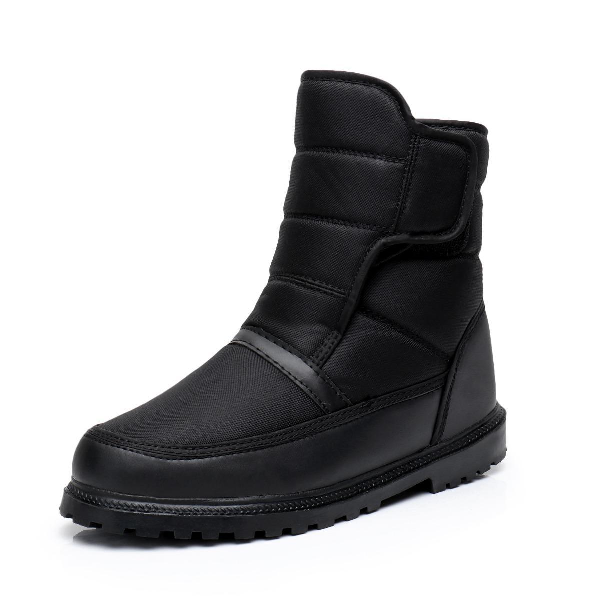 36e13740d0b3 Winter Warm plus Velvet Anti-slip Button Men Snow Boots Waterproof  Anti-slip Snow