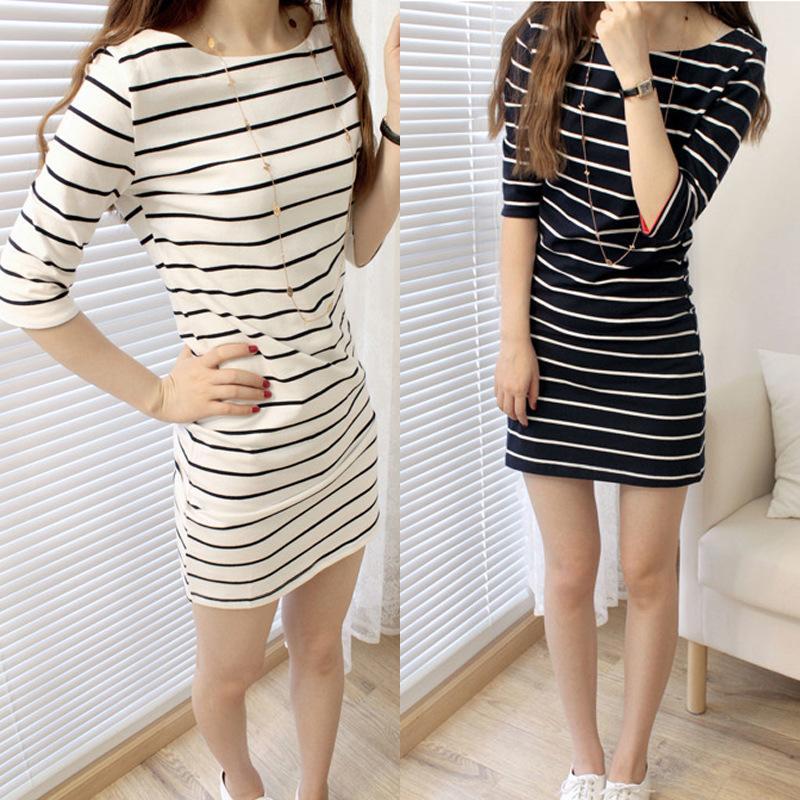 9388ce1fe7d AILIN New Korean Version of Women s Medium - length Short - sleeved Striped  Dress