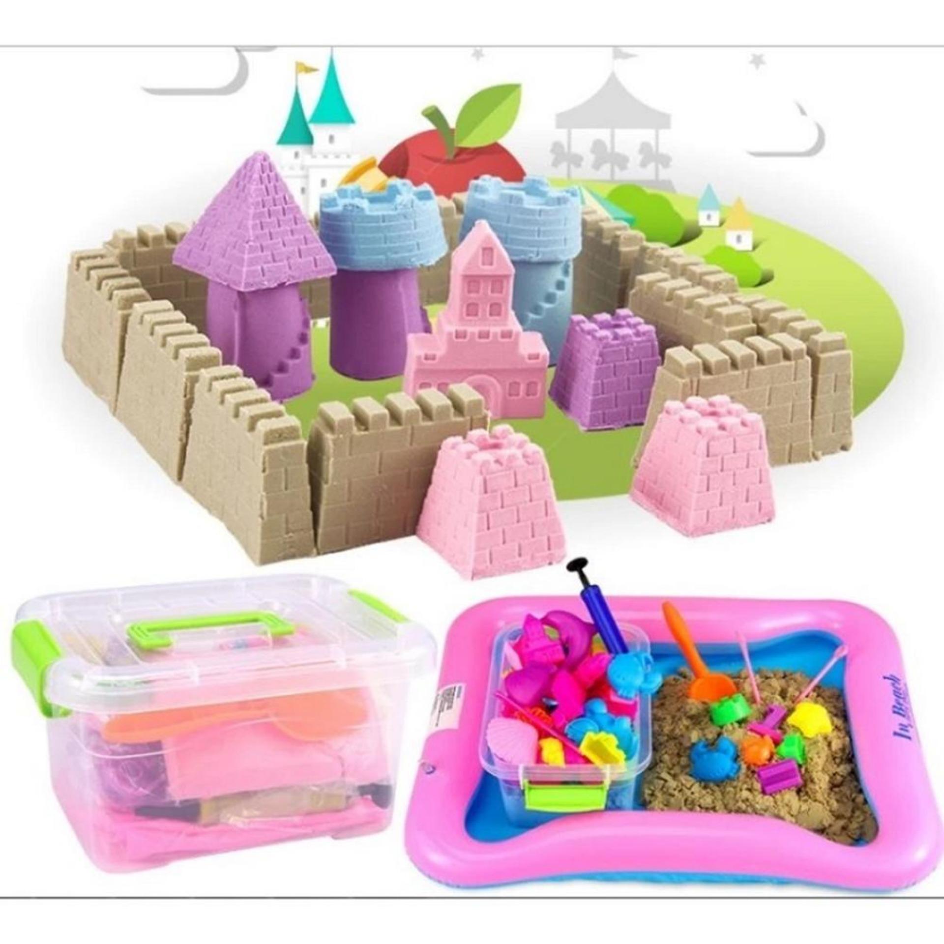 Hình ảnh Bộ đồ chơi Cát an toàn tạo hình Cung điện: Đủ Hộp nhựa + Bể hơi + Cát + Khuôn