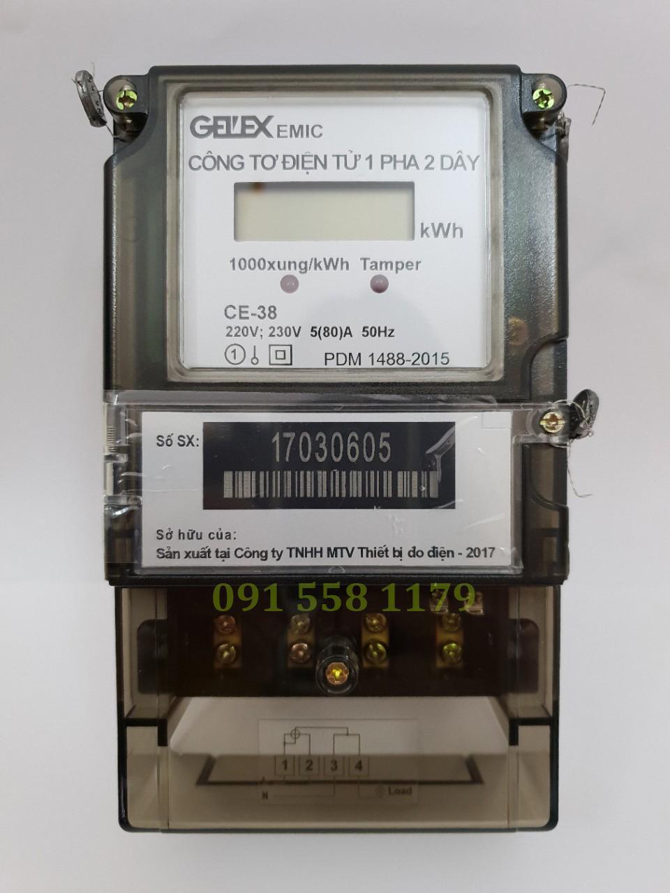 Công Tơ Điện Tử 1 Pha EMIC CE-38, Thiết kế nhỏ gọn, hiện đại. Thay thế công tơ nhà trọ