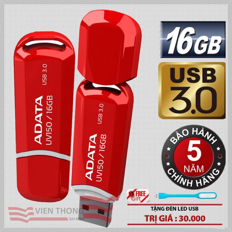 USB 3.0 16GB ADATA UV150 ( đỏ ) Hãng phân phối chính thức - Tặng đèn LED USB