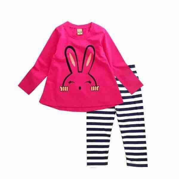 Giá bán Bộ tay dài bé gái hình thỏ size 3-10, hàng VN