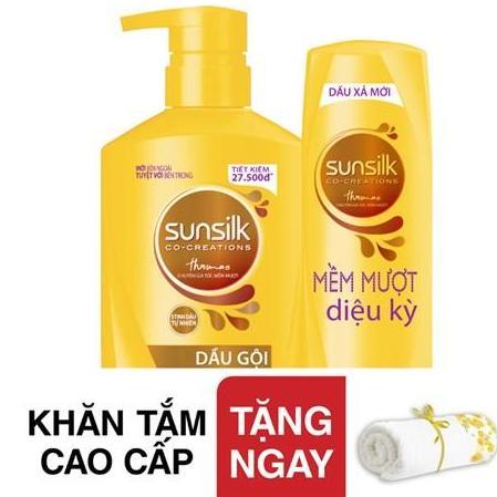 Hình ảnh Bộ Dầu gội Sunsilk 650g + Xả 170g Tặng khăn tắm cao cấp