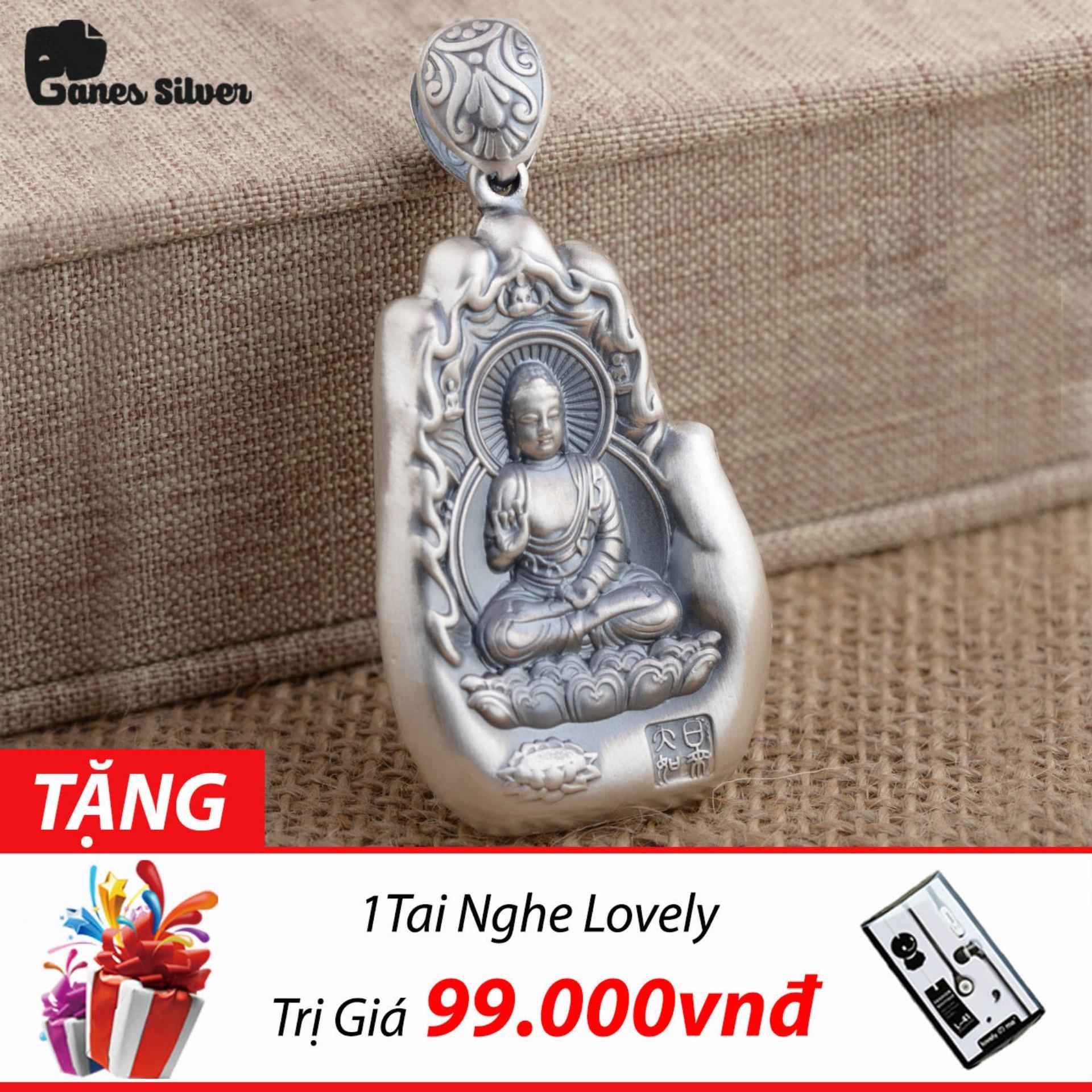 Bán Mua Trực Tuyến Mặt Day Chuyền Bạc Nam Phật A Di Đa Hinh Ban Tay Chất Liệu Bạc Thai Cao Cấp Thương Hiệu Ganes Silver Bạc
