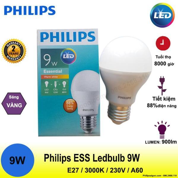 Bóng đèn Philips  Ess Ledbulb 9W E27 6500/3000K 230V A60 Ánh sáng( trắng/ vàng)