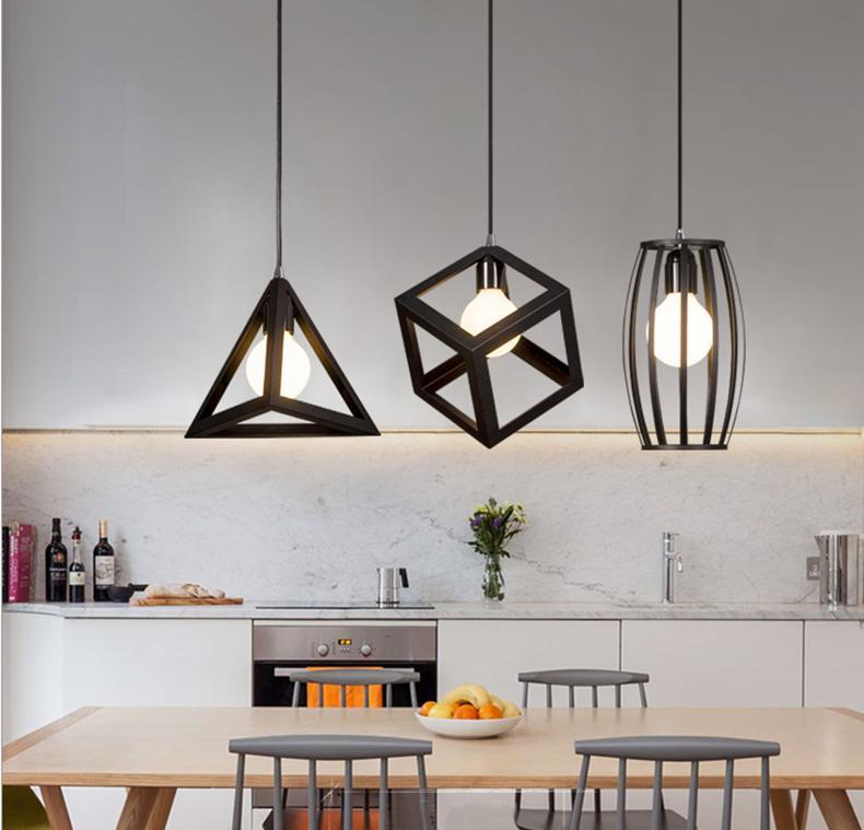 Modern Minimalist Creative Cool Vintage Hanging Lighting Cafe Iron Art Industrial Bar Three Head Restaurant Lamps