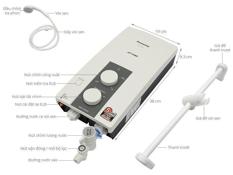 Bảng giá Máy nước nóng Panasonic DH-3JP4VH 3.5 kW