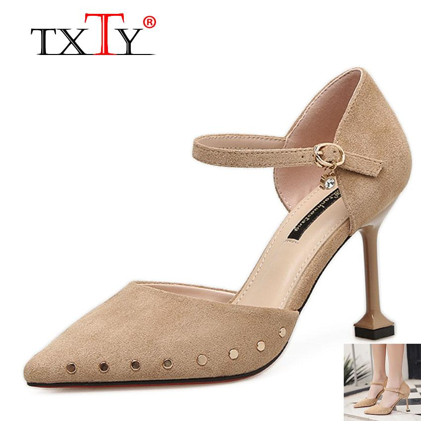 TXTY Cat heel sandals female spring and summer buckle rivets with baotou high heels