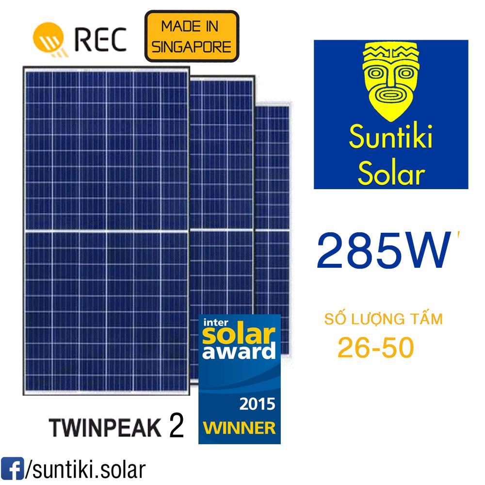 Tấm pin năng lượng mặt trời REC (Solar Panels)  285W (26 ĐẾN 50 TẤM)