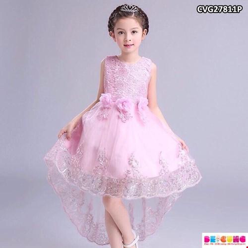 Hình ảnh Đầm công chúa dự tiệc cho bé từ 1-10 tuổi màu đỏ