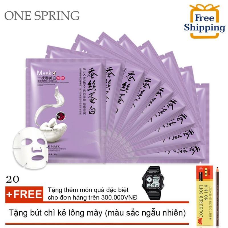 Bộ 20 Mặt Nạ Dưỡng Trăng Chiết Xuất Từ Tơ Tằm One Spring (TÍM) + Tặng bút chi kẻ lông mày ( Đơn hàng mỹ phẩm trên 300k tặng thêm 1 đồng hồ thể thao như quảng cáo ) nhập khẩu