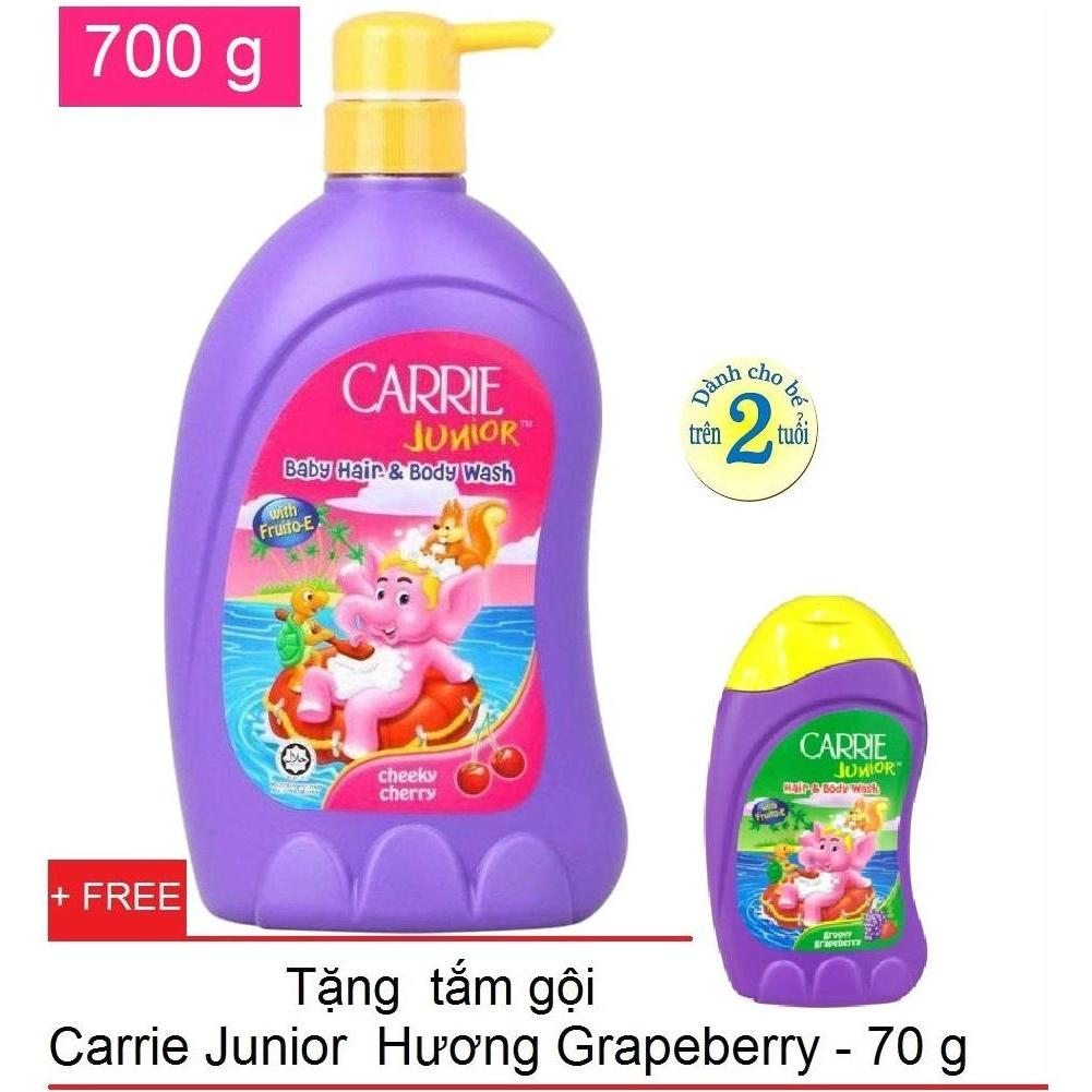 Ôn Tập Carrie Junior Tắm Gội Toan Than Cho Be Hương Cherry 700G Tặng Kem Tắm Gội Toan Than Grapeberry 70G