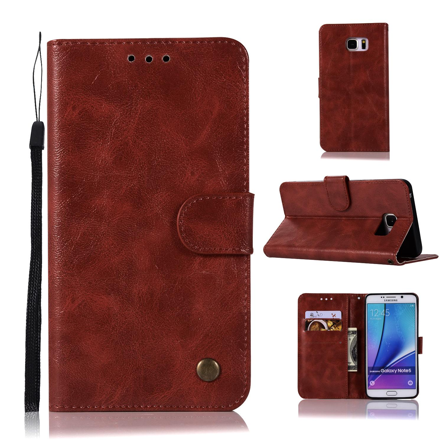 Casing For Samsung Galaxy Note 5 / N9200,reto Leather Wallet Case Magnetic Double Card Holder Flip Cover By Life Goes On.