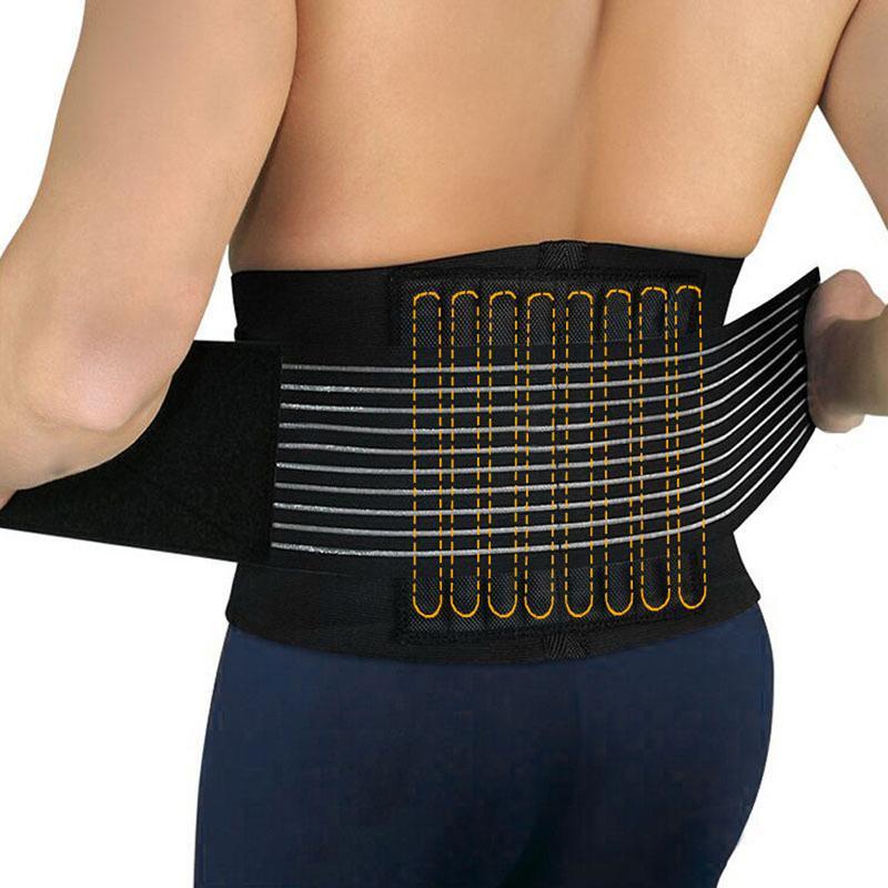 Hình ảnh Sport Accessories Back Support Brace Belt Lumbar Lower Waist Double Adjust Back Pain Relief Waist Support,Black - intl