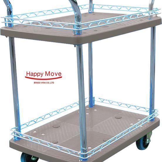 Xe đẩy hàng Fiber-tech 2 tầng chống ồn Happy Move 150kg