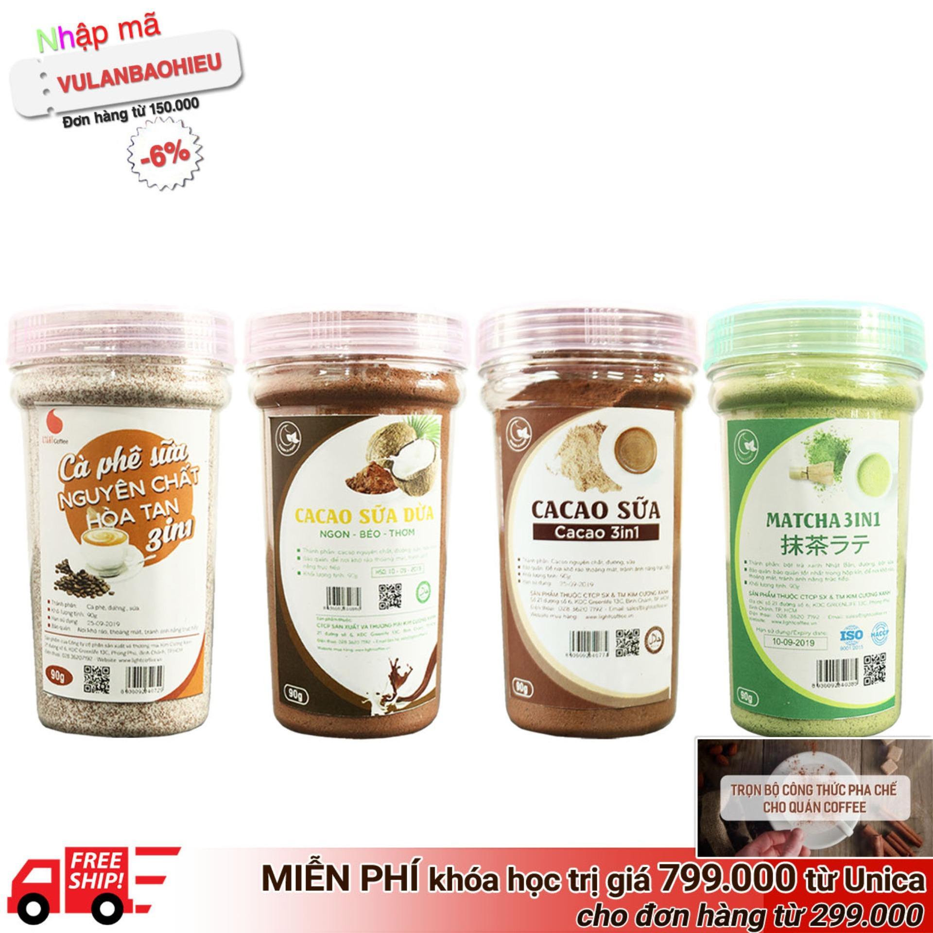 Hình ảnh Combo 4 loại thức uống hòa tan pha Light Coffee - Cacao sữa, Matcha sữa, Cà phê sữa, Cacao sữa dừa - 90g/hũ