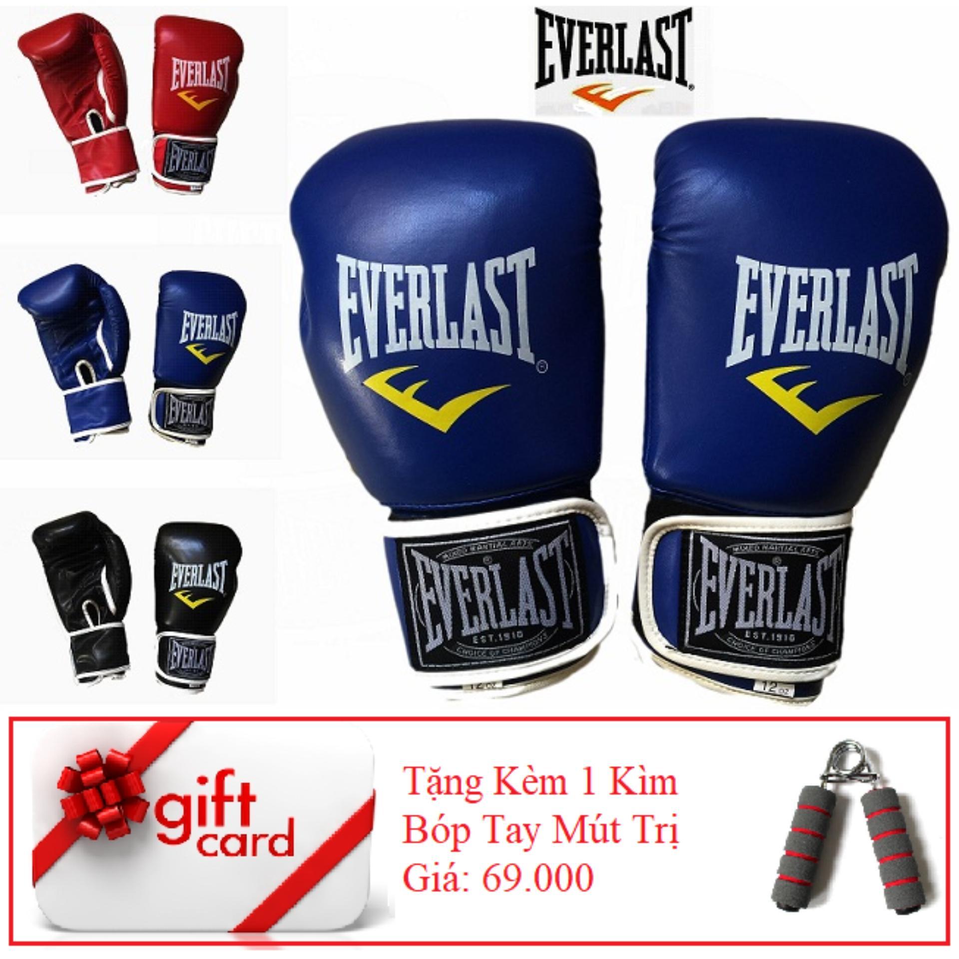 Hình ảnh Găng Tay Tập Boxing Cao Cấp ( Màu Xanh ) - TiGi Mall - Tặng Kèm 1 Bóp Mút