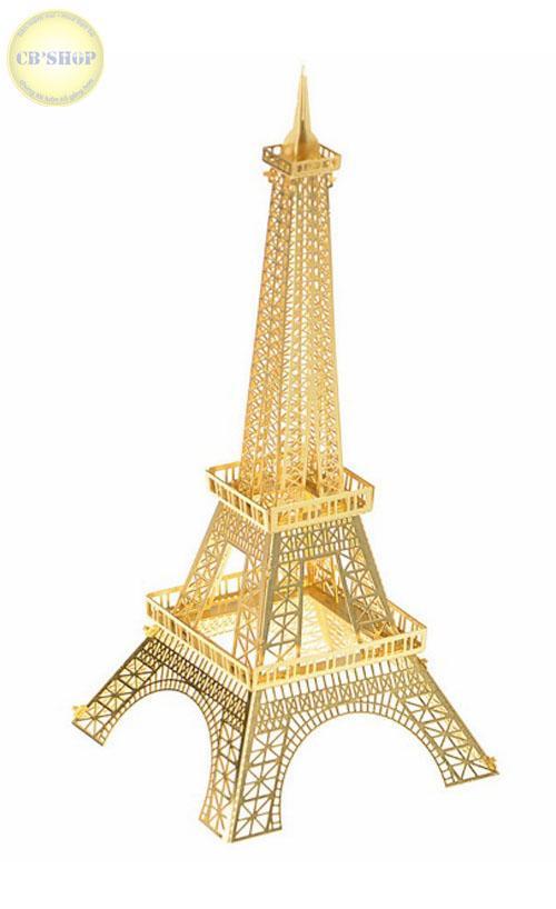 Hình ảnh Mô hình tháp Eiffel ghép hình 3D kim loại màu Vàng