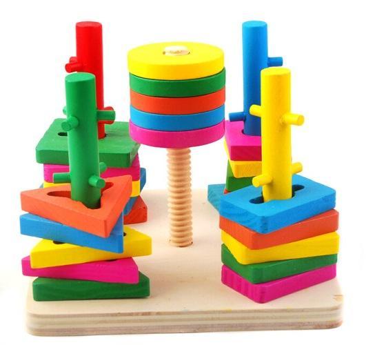 Hình ảnh Bộ Wooden Toys Thả Hình 3D Đế Vuông 5 Trụ