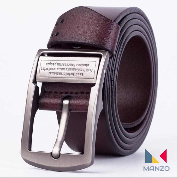 Hình ảnh Dây nịt- Thắt lưng nam da bò THẬT 100% khóa kim chữ cao cấp Manzo 101, BH 1 năm