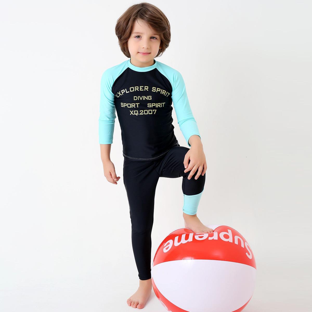 Goman anak-anak baru tabir surya pakaian renang anak-anak berpisah lengan panjang cepat kering anak-anak besar pantai menyelam pakaian renang unta grosir