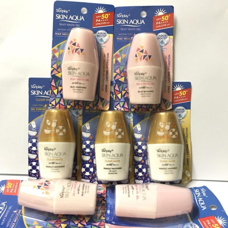 Trọn bộ 10 Chai Kem chống nắng Sunplay Skin Aqua 5g/chai + tặng kèm 1 tuýt pond dưỡng trắng 8g
