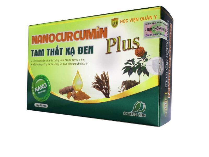 Nano Curcumin Tam thất xạ đen Plus hỗ trợ dạ dày, hoá trị xạ trị (hộp 30 Viên HVQY) nhập khẩu