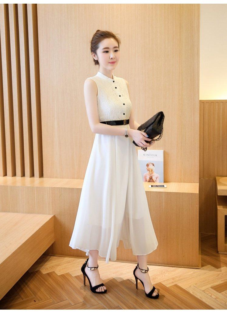 Đầm Vintage Phối Ren Beyeu1688 Zby6081 Trắng Kem Thắt Lưng Hồ Chí Minh Chiết Khấu