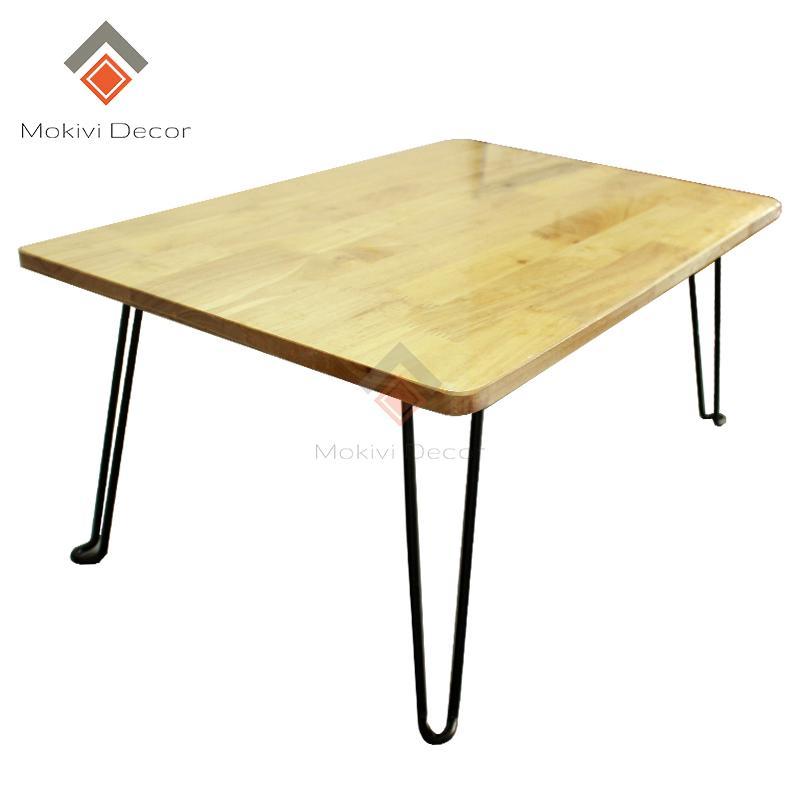 Hình ảnh Bàn gỗ laptop (Tự Nhiên) XẾP GỌN - chân sắt sơn ĐEN - bàn học sinh viên - 60x40x30