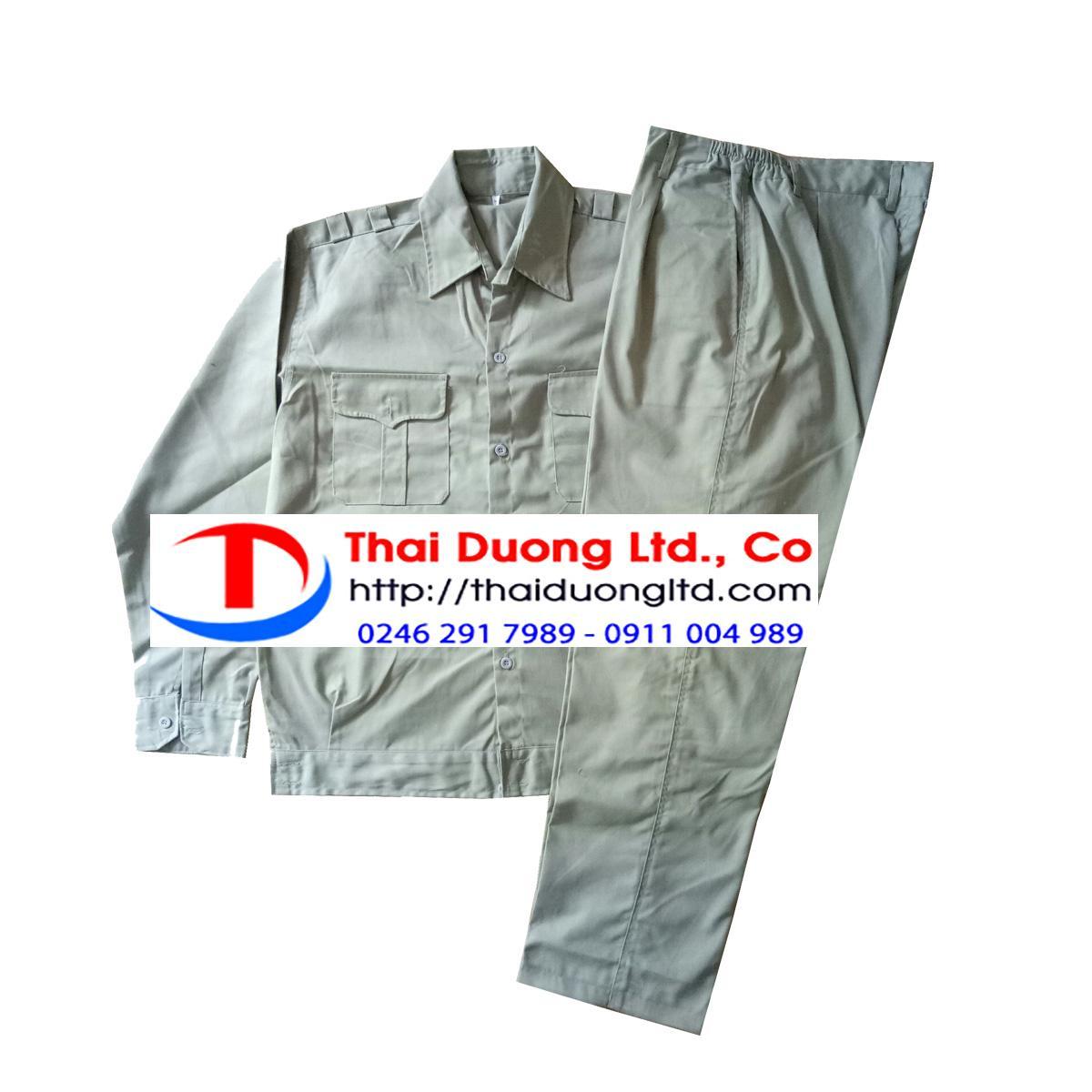 Bộ quần áo bảo hộ lao động Kaki Ghi Size 7(L) + Tặng 10 chiếc khẩu trang y tế Thái Dương Mask Cao cấp màu Xanh