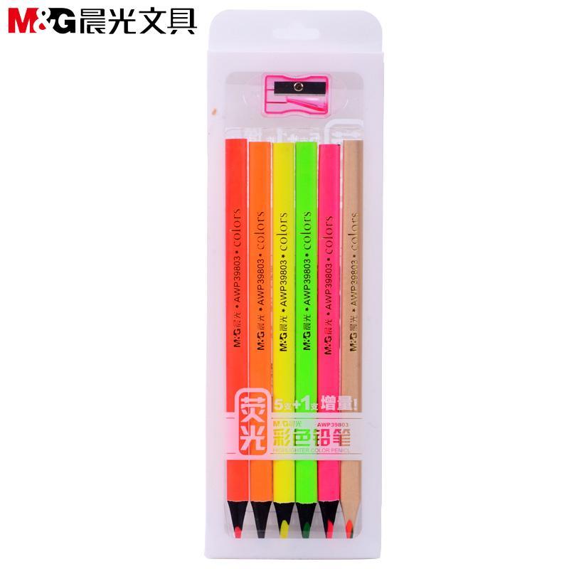 M&G Cahaya Fluoresensi pensil berwarna-warni Lukisan pensil berwarna Set Cahaya Fluoresensi murid pensil berwarna-warni Kombinasi berwarna-warni Cahaya Fluoresensi tanda
