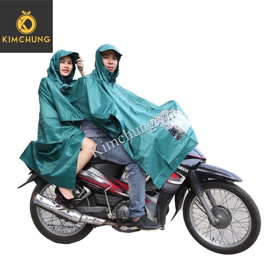 Áo mưa hai đầu đi xe máy vải dù cao cấp, siêu bền, không thấm nước (có kiếng đèn xe)
